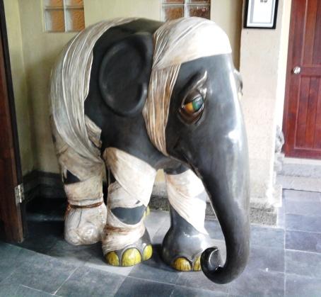 Bandaged elephant statue
