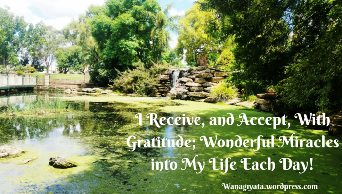 I Receive, and Accept, With Gratitude; Wonderful Miracles into My Life Each Day!